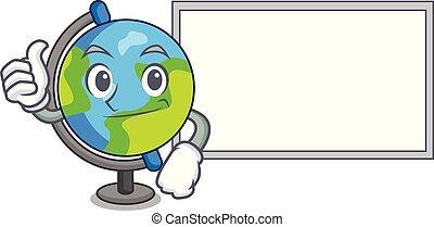stile, globo, carattere, su, asse, cartone animato, pollici