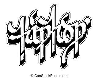 stile, graffito, parola, bandiera, hip-hop