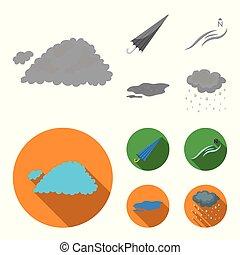 stile, ground., casato, icone, vento, simbolo, nuvola, web., monocromatico, tempo, illustrazione, nord, set, vettore, collezione, appartamento, ombrello, pozzanghera