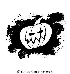 stile, grunge, colpi, simbolo, halloween, terribile, fondo., bandiera, spazzola, inchiostro, splatter., bianco, vacanza, zucca
