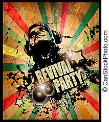 stile, grunge, elements., club, vendemmia, promozionale,...