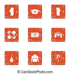 stile, grunge, emergenza, icone, set, cura