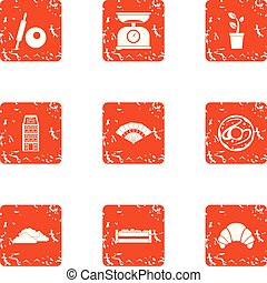 stile, grunge, icone, cibo, set, mercato
