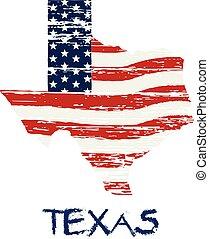 stile, grunge, map., bandiera, americano, vettore, texas