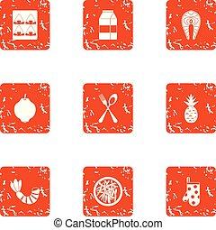 stile, grunge, ristorante, set, livello, icone