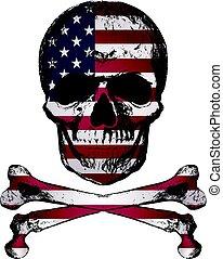 stile, grunge, stati uniti, cranio, vendemmia, mano, bandiera, disegnato, texture.
