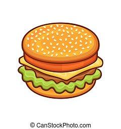 stile, hamburger, fondo., vettore, bianco, cartone animato, icona