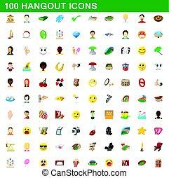 stile, hangout, icone, set, 100, cartone animato