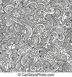 stile, hippie, hand-drawn, tema, doodles, cartone animato,...