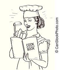 stile, holding donna, mani, libro, room., reto, cuoco, giovane chef, illustrazione, cucina, lei