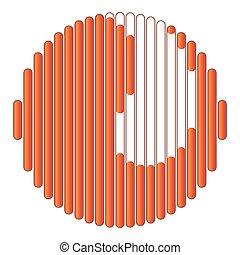 stile, icona, cartone animato, caricamento, circolare, arancia