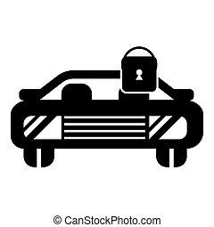 stile, icona, chiuso chiave, automobile, semplice