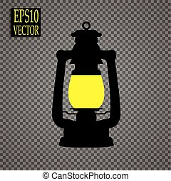 stile, icona, simbolo, miniera, illustrazione, isolato, fondo., vettore, nero, bianco, lanterna, casato