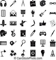 stile, icone affari, set, creativo, semplice