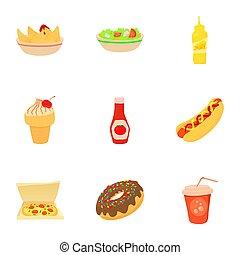 stile, icone, cibo, menu, digiuno, set, cartone animato