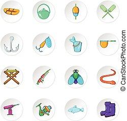 stile, icone, pesca, cartone animato