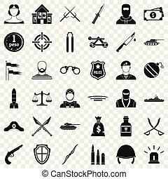 stile, icone, set, arma, semplice, guerra