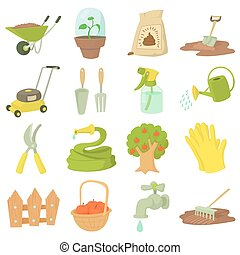 stile, icone, set, attrezzi, cartone animato, giardiniere