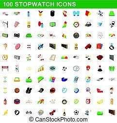 stile, icone, set, cronometro, 100, cartone animato