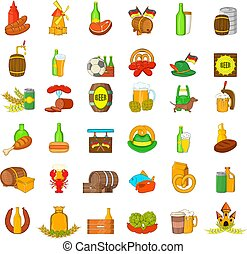 stile, icone, set, cultura, birra, cartone animato