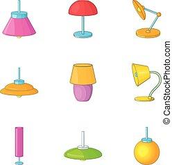 stile, icone, set, decorazione, lampada, casa, cartone animato