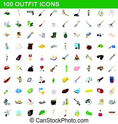 stile, icone, set, equipaggiamento, 100, cartone animato