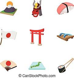 stile, icone, set, giappone, turismo, cartone animato