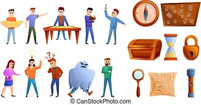 stile, icone, set, gioco, ricerca, cartone animato