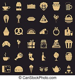 stile, icone, set, grande, semplice, generosità