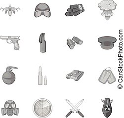 stile, icone, set, nero, monocromatico, guerra