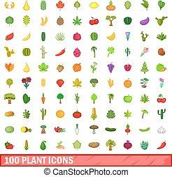 stile, Icone,  set, pianta,  100, cartone animato