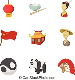 stile, icone, set, porcellana, turismo, cartone animato
