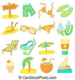 stile, icone, set, resto, mare, cartone animato