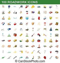 stile, icone, set, roadwork, 100, cartone animato