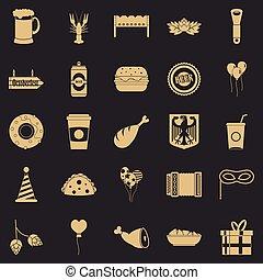 stile, icone, set, semplice, birra, festa