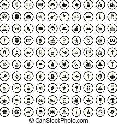 stile, icone, set, semplice, generosità, 100