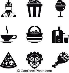 stile, icone, set, semplice, generosità, vacanza