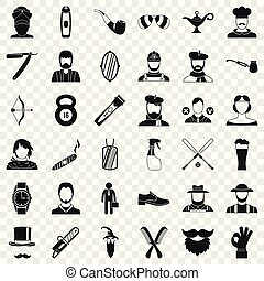 stile, icone, set, semplice, hipster, uomo