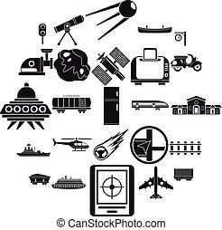 stile, icone, set, semplice, tecnologia, avanzato