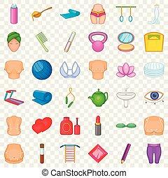 stile, icone, set, truccare, cartone animato