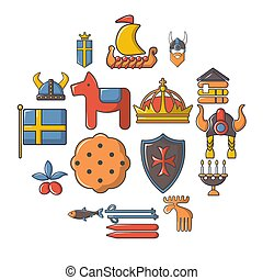 stile, icone, set, viaggiare, svezia, cartone animato
