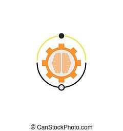 stile, idea, appartamento, ingranaggio, cervello, collegamento, icona
