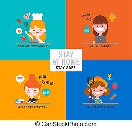 stile, illustration., differente, carattere, attività, ragazze, appartamento, pandemic., durante, cartone animato, vettore, casa, disegno, felice