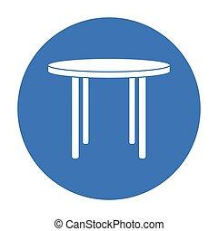 stile, illustration., icona, legno, simbolo, isolato, fondo., vettore, nero, tavola, interno, casa, bianco, mobilia, rotondo, casato