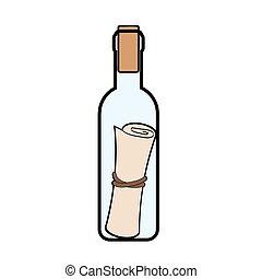 stile, illustration., icona, simbolo, isolato, cartone animato, fondo., vettore, bottiglia, bianco, casato, messaggio, pirati