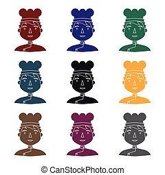stile, illustration., persone, simbolo, professione, isolato, differente, chef, fondo., vettore, nero, bianco, icona, casato