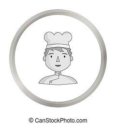 stile, illustration., persone, simbolo, professione, isolato, differente, chef, fondo., vettore, monocromatico, bianco, icona, casato