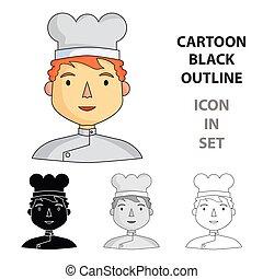 stile, illustration., persone, simbolo, professione, isolato, differente, chef, fondo., vettore, bianco, icona, cartone animato, casato