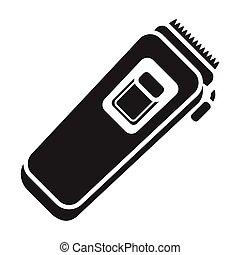 stile, illustration., trimmer, simbolo, isolato, fondo., vettore, nero, elettrico, bianco, icona, hairdressery, casato