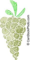 stile, illustrazione, retro, uva, quirky, cartone animato, mazzo